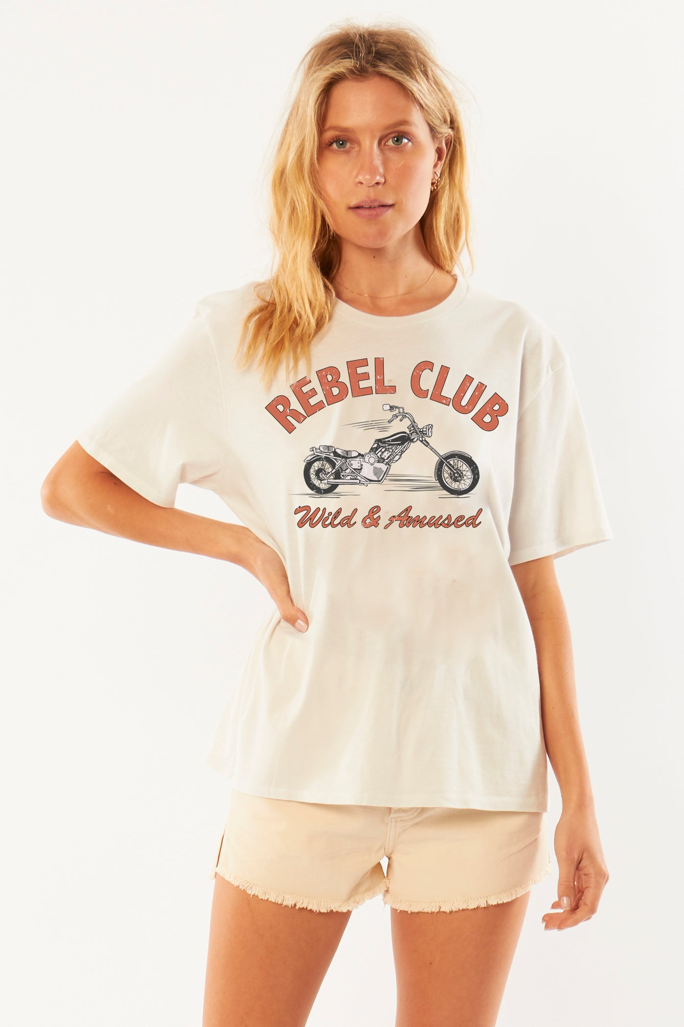 Rebel Club Knit Tee in Vintage White