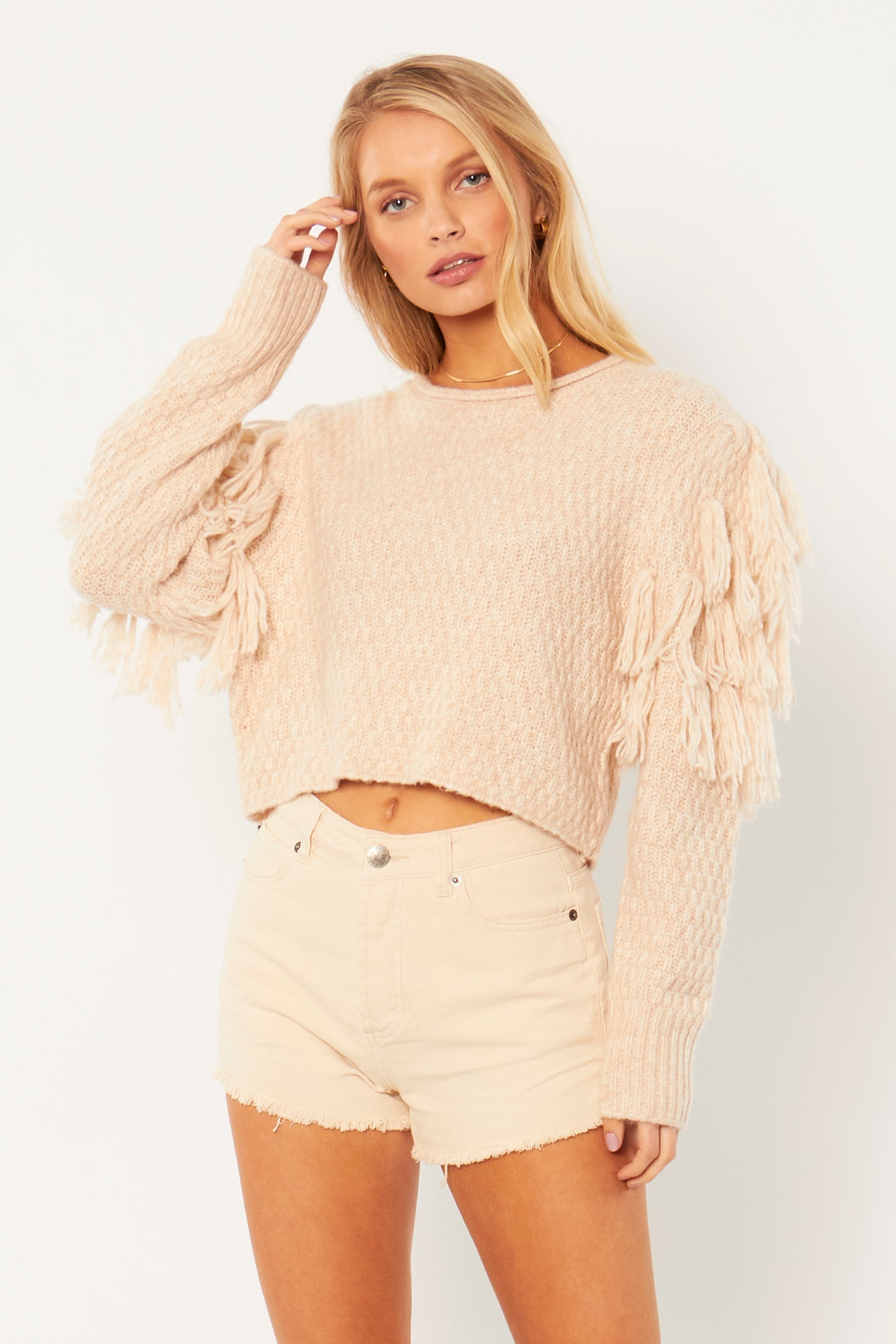 Rocha Long Sleeve Knit Sweater in Oatmeal