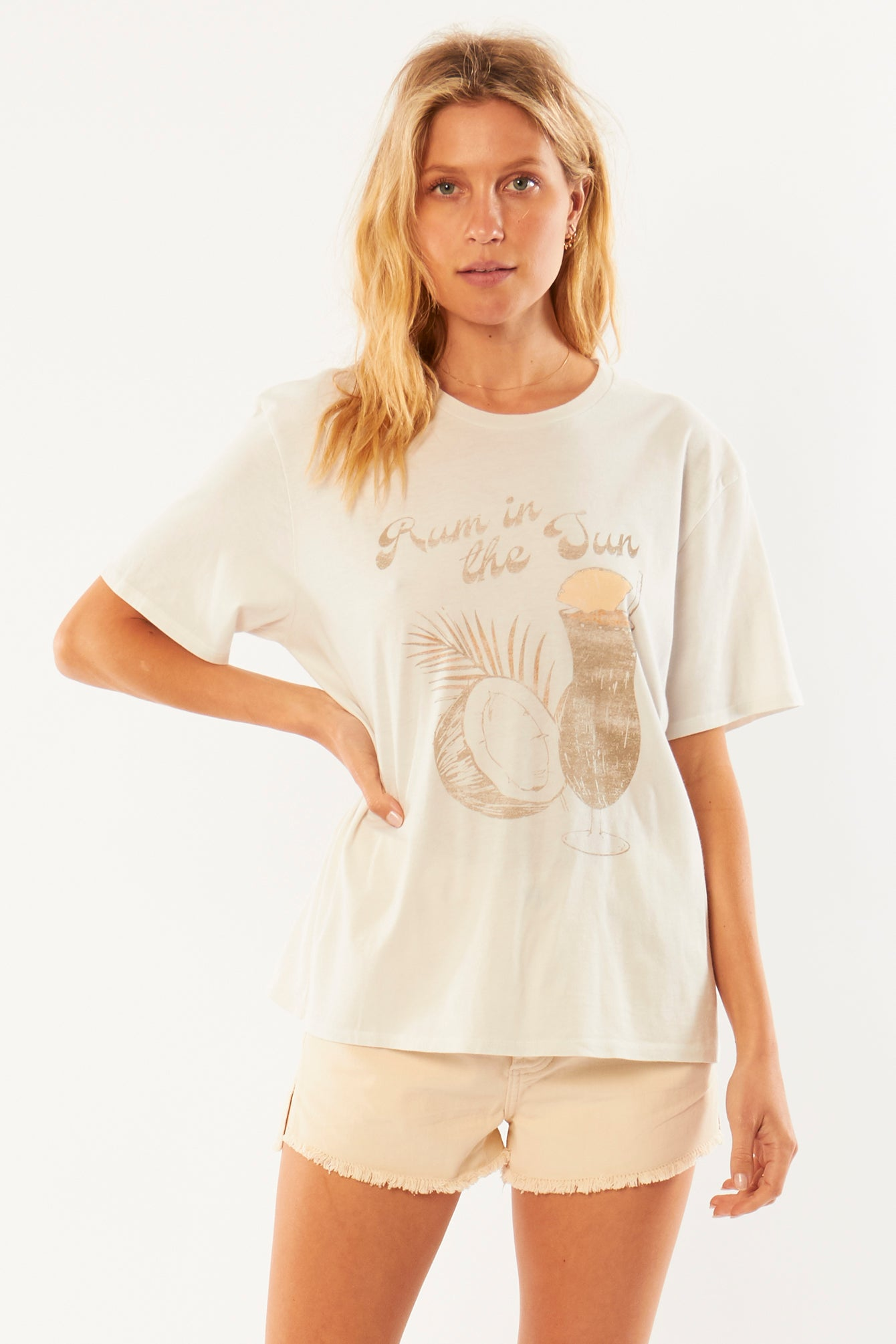 Rum in the Sand Tee in Vintage White