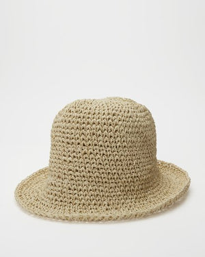 Sight Seeing Straw Bucket Hat in Natural