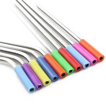 Load image into Gallery viewer, Stainless Steel Straws - Colorful Silicone Caps