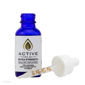 EXTRA STRENGTH ACTIVE CBD OIL TINCTURE - WATER SOLUBLE - UNFLAVORED 300MG