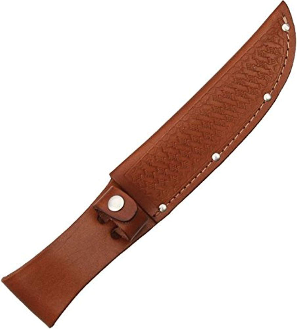 Sheath Fixed Blade Knife Sheath, Brown basketweave leather,Fits up to 6in blade