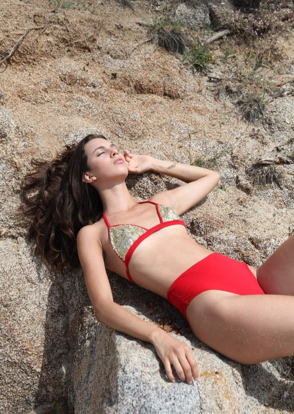 SHIVA Red // High-waist Bikini