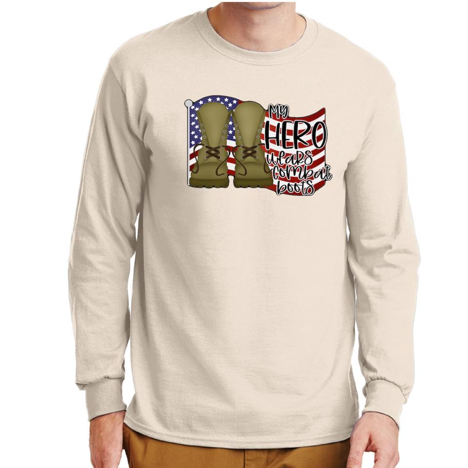My Hero Wears Combat Boots - Natural Long Sleeve