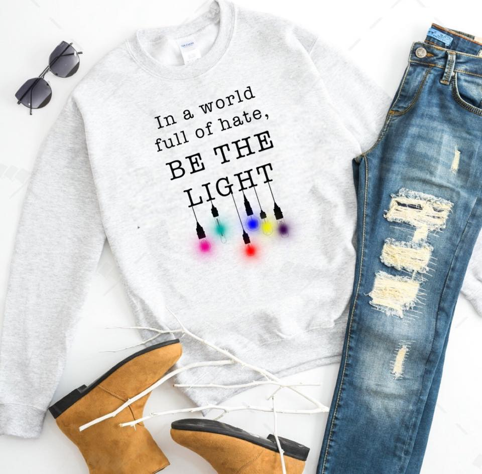 In A World Full of Hate, Be the Light - Rainbow - Ash Grey Crewneck Sweatshirt