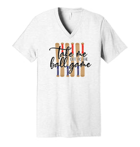 Take Me Out To The Ball Game (red & blue bats) - Ash Grey V-Neck