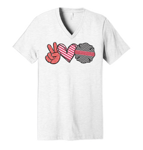 Peace. Love. Fire. - Ash Grey V-Neck