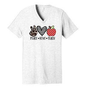 Peace. Love. Teach. - Ash Grey V-Neck