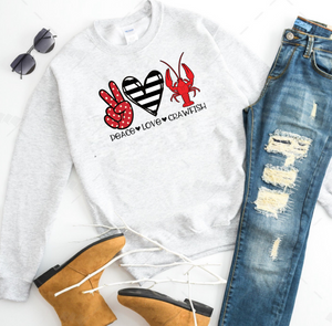 Peace. Love. Crawfish. (stripe heart) - Ash Grey Crewneck Sweatshirt