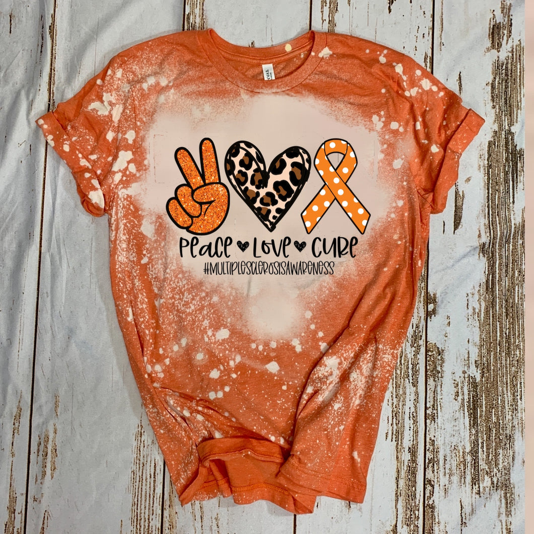 Peace. Love. Cure. #MultipleSclerosis (orange polka dots) - Acid Wash Orange