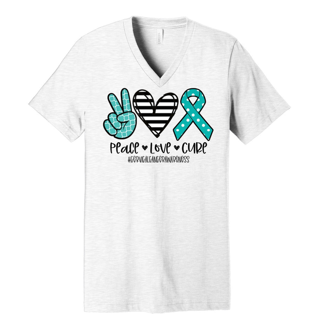Peace. Love. Cure. #CervicalCancer (turquoise polka dots) - Ash Grey V-Neck