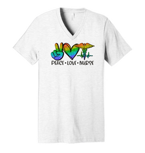 Peace. Love. Nurse. (Neon Glitter) - Ash Grey V-Neck