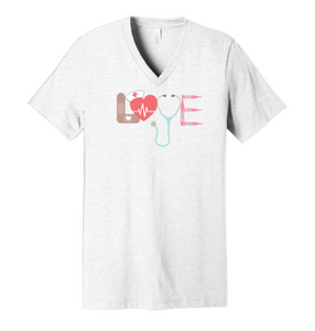 L.O.V.E. Nurse - Ash Grey V-Neck