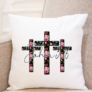 3 Floral Crosses - John 3:16 - Pillow