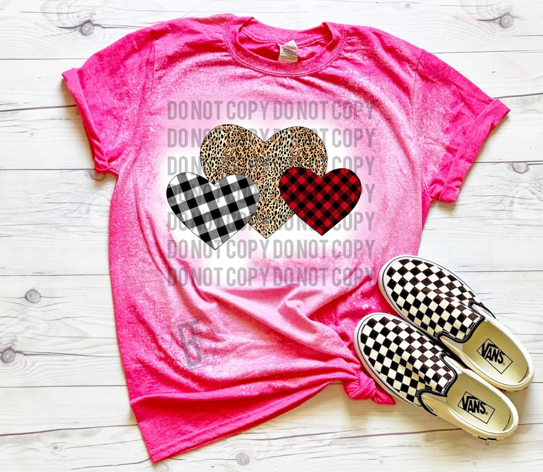 Cheetah & Plaid Hearts - Acid Wash Pink