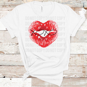Red Heart Shaped Lips XOXO Centered - White