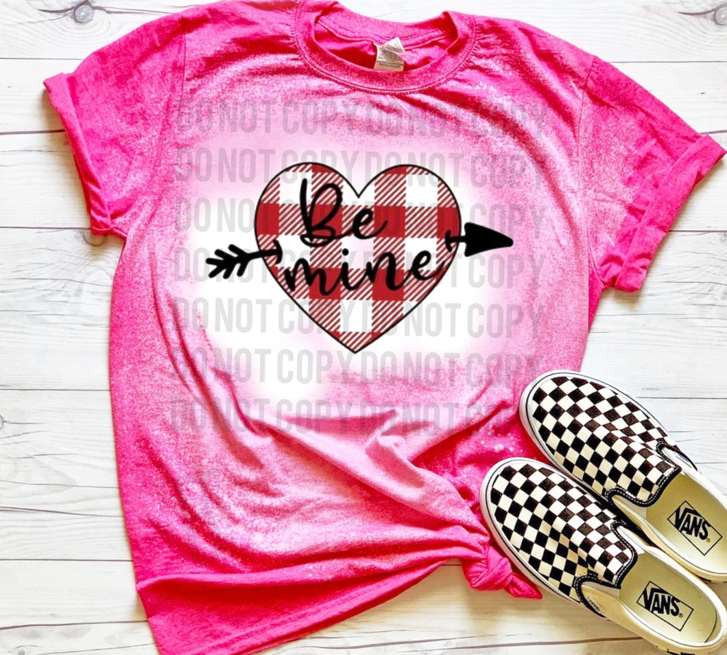 Be Mine Heart Plaid - Acid Wash Pink