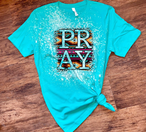 Pray W/ Aztec Pattern - Acid Wash Teal