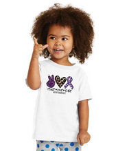 Load image into Gallery viewer, Peace. Love. Cure. #Epilepsy (purple polka dots) - White