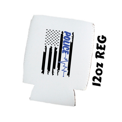 Back The Blue - Distressed Flag w/ Police Heart Beat - Car Coasters/ Koozies