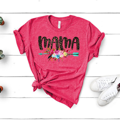 Mama w/Floral Arrow - Heather Raspberry