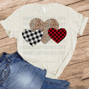 Valentine Hearts - Cheetah w/ Plaid Hearts