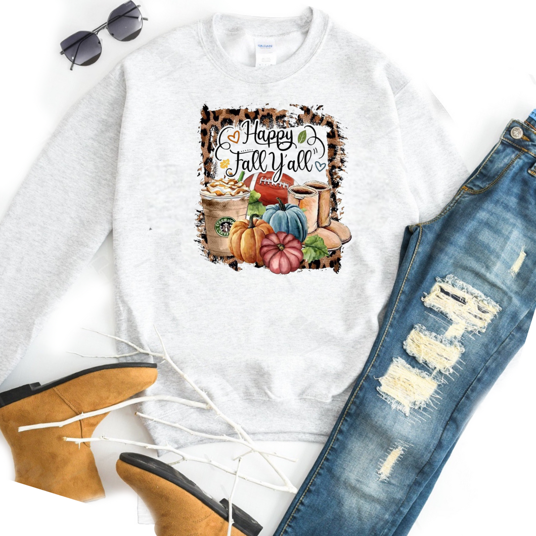 Happy Fall Y'all w/ Favorites Starbucks Boots Football Pumpkins  - Ash Crewneck Sweatshirt