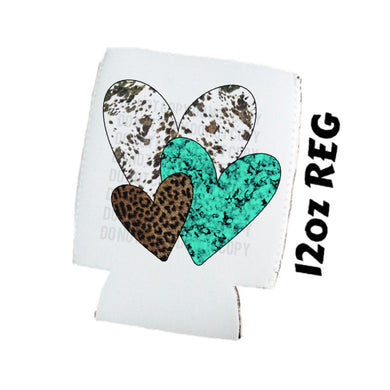 Heart Bundle 3 Hearts - Cow Print Leopard Turquoise - Valentines Day - Koozies