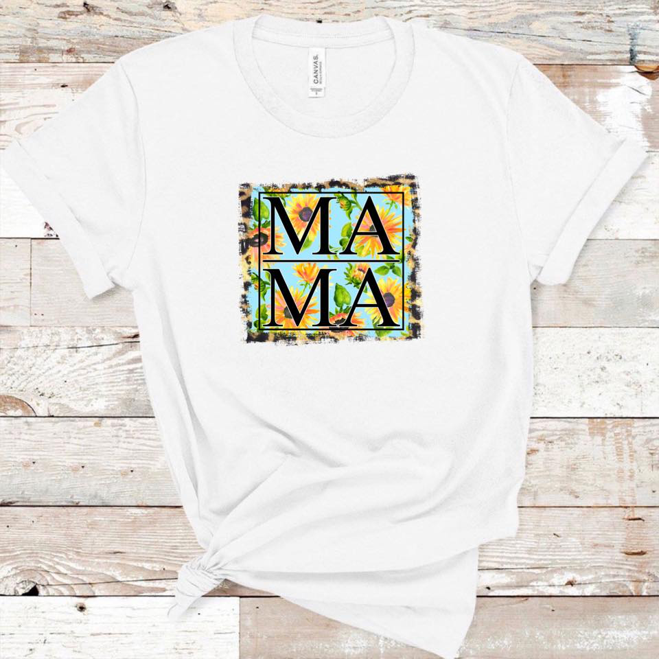 MAMA - w/ Sunflower and Leopard Background - White