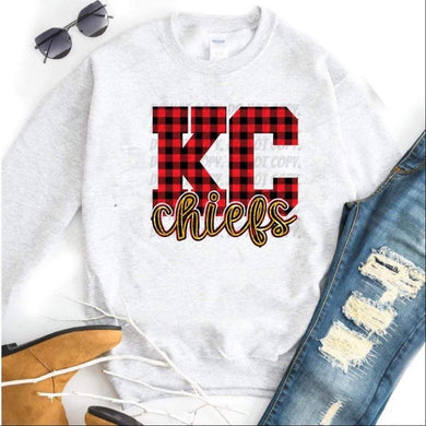 KC Chiefs / w/ Plaid & Gold Glitter w/ Black outline - Ash Grey Crewneck Sweatshirt