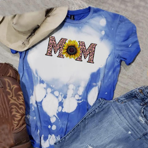 Mom - w/ Sunflower and Pink Leopard - Acid Wash Royal Blue