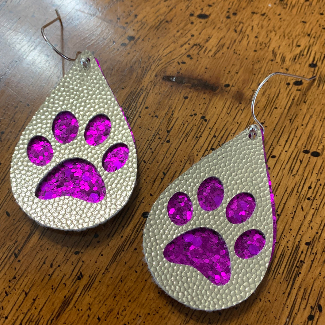 Purple Glitter w/ Gold Paw
