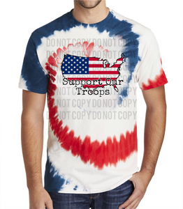 Support Our Troops Flag USA - Tie Dye