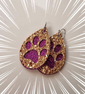 Purple and Gold Glitter Paw