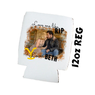 Love Me Like Rip Loves Beth - Yellowstone - Tooled Leather Background - Koozies