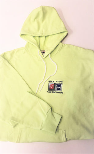 AO5 - SAFETY GREEN, HOODED SWEATSHIRT WITH BAC LOGO