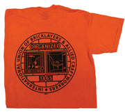 SO6 - 50/50 COTTON/POLYESTER SHORT SLEEVE ORANGE T-SHIRT W/ BAC LOGO SCREENED ON FRONT AND ON FULL BACK