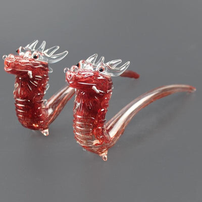 🔥 💨  high-end glass pipes Red Dragon Shape Pipe Glass Smoking Pipe 9.5'' - Dope Smokes [variant_title], [option1],