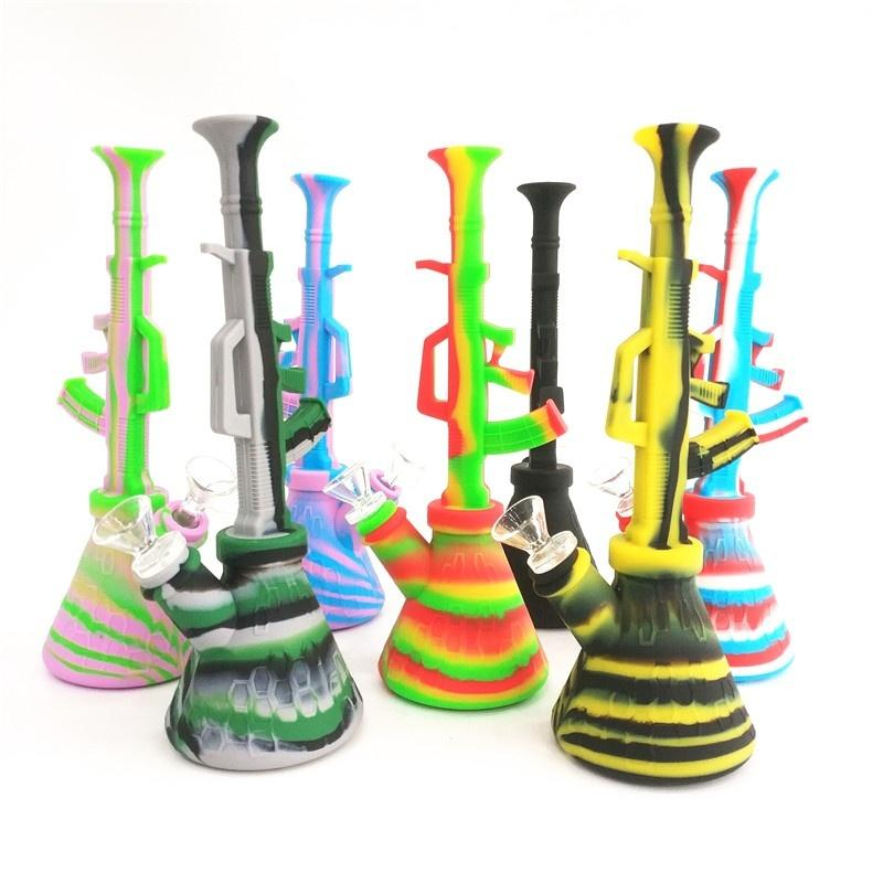 Silicone Water Pipes Bubbling Bazooka Rig or Hookah Gun Shaped Silcone Bong