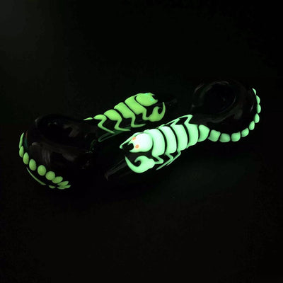 🐼 🐶 New Fashion 4 Inch Glow In The Dark Heady Glass Smoking Pipes Spoon Scorpion Luminous Hand Pipe Oil Burner Tobacco Pipes(Scorpio - Dope Smokes [variant_title], [option1],