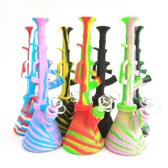 🔥 💨  Silicone Water Pipes Bubbling Bazooka Rig or Hookah Gun Shaped Silcone Bong - Dope Smokes [variant_title], [option1],