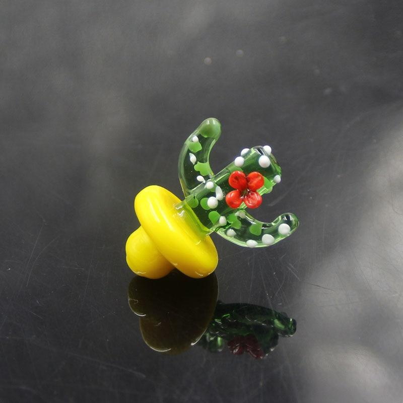 Quartz Banger Nail-Cap Colorful Glass Cactus Carb Cap