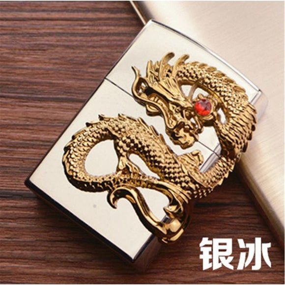 🔥 💨  Retro Dragon Metal Flip Style Lighters - Dope Smokes silver, silver,