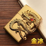 🔥 💨  Retro Dragon Metal Flip Style Lighters - Dope Smokes gold, gold,