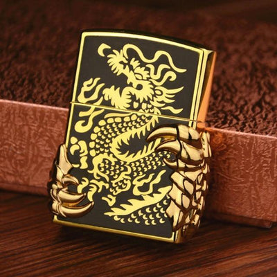 🔥 💨  Retro Dragon Metal Flip Style Lighters - Dope Smokes gold black, gold black,