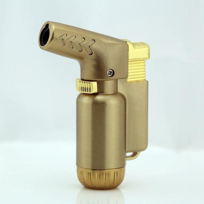 🐼 🐶 Compact Butane Jet Turbo Torch Windproof Lighter - Dope Smokes Gold, Gold,