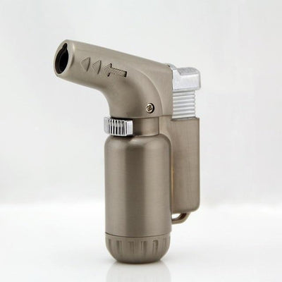 🐼 🐶 Compact Butane Jet Turbo Torch Windproof Lighter - Dope Smokes Silver, Silver,