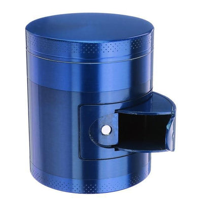 🐼 🐶 Metal Tobacco Herb Grinder 4 Layers - Side Open For Easy access - Dope Smokes Blue, Blue,