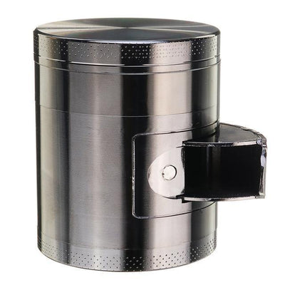 🐼 🐶 Metal Tobacco Herb Grinder 4 Layers - Side Open For Easy access - Dope Smokes Grey, Grey,